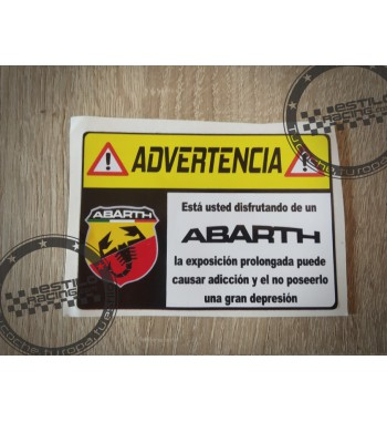 Pegatina Advertencia Abarth