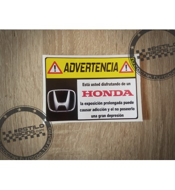 Pegatina Advertencia Honda