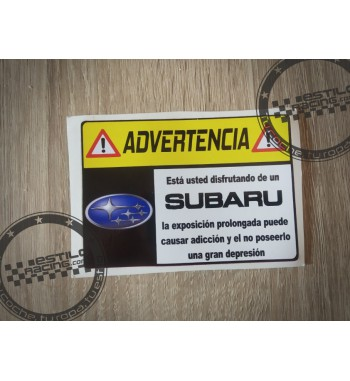Pegatina Advertencia Subaru