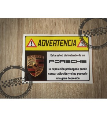 Pegatina Advertencia Porsche