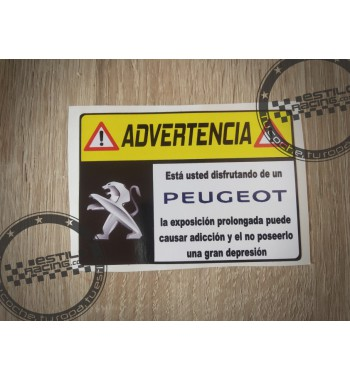 Pegatina Advertencia Peugeot