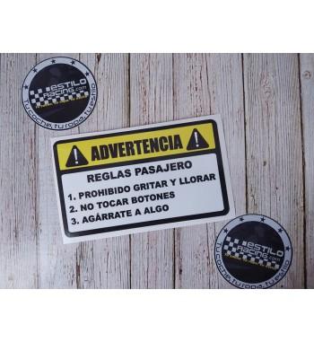 Pegatina Advertencia Reglas...